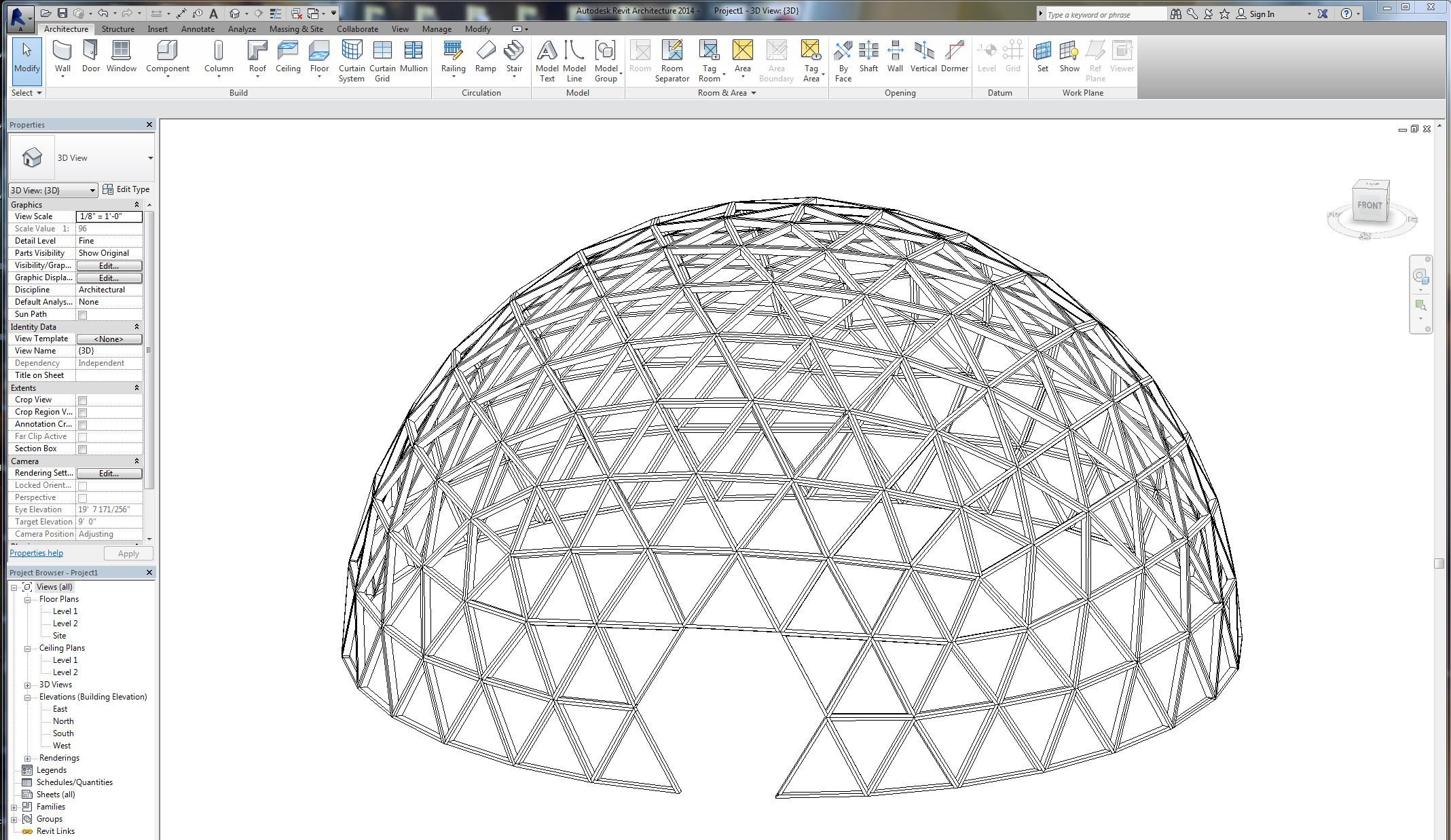 geodesic dome framing model renderings